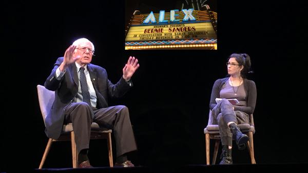 FEEL THE BERN:  Comedian and actress Sarah Silverman interviews U.S. Senator Bernie Sanders in front of a sold-out crowd at the Alex Theatre in Glendale on Nov. 30.