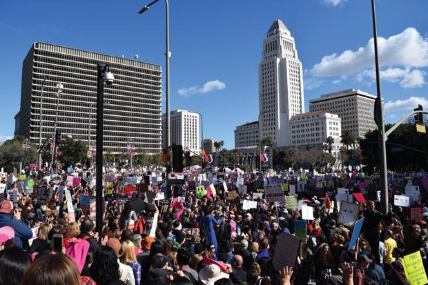 L.A.+WOMEN%3A+Hundreds+of+thousands+joined+in+the+peaceful+protest+in+front+of+City+Hall+in+downtown+Los+Angeles+on+Saturday+after+marching%0Afrom+Pershing+Square.+The+march+far+exceeded+expected+crowd+numbers.+