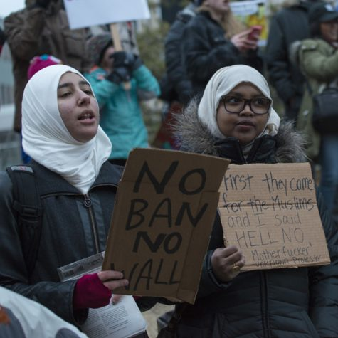 NO BAN, NO WALL: An estimated crowd of 7,000 protesters gathered in downtown Minneapolis on Jan. 31 to denounce President Trump and express solidarity with immigrants.