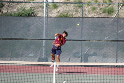 GAME, SET, MATCH: Vaquero Chris Hess, above, serves during the pick-up match against New Mexico March 15. Glendale's David Preciado, right, returns a serve against Victor Valley on March 14.