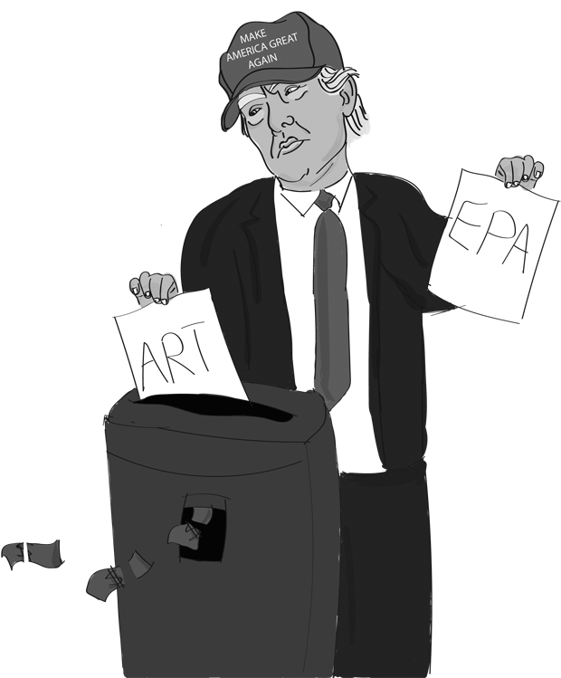 SHREDDING: Donald Trump has proposed a budget with severe cuts to arts, humanities and environmental protection while shifting funds to the millitary.