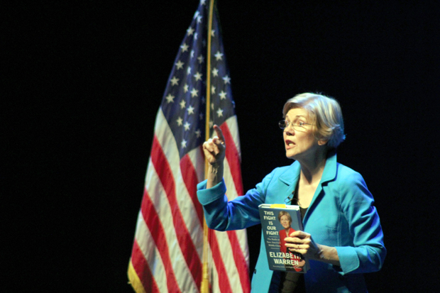 "Sen. Elizabeth Warren speaks at the Alex Theatre in Glendale Saturday to two sold-out crowds. Warren was there to promote her new book ""This Fight is Our Fight."""