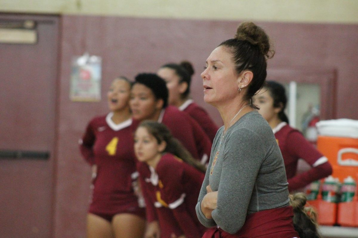 Vaq Head Coach Yvette Ybarra looks on as her team plays against East Los Angeles College during their Sept. 23 match.