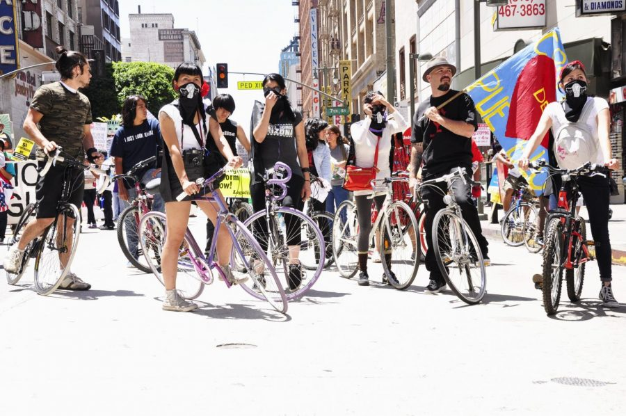The+bicycle+group+of+radical+feminists+take+action+during+a+protest+in+East+Los+Angeles.+