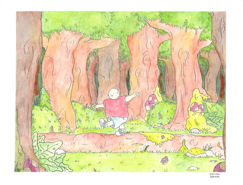 GCC student and El Vaquero illustrator Matthew Spencer celebrates Earth Day in his latest watercolor.