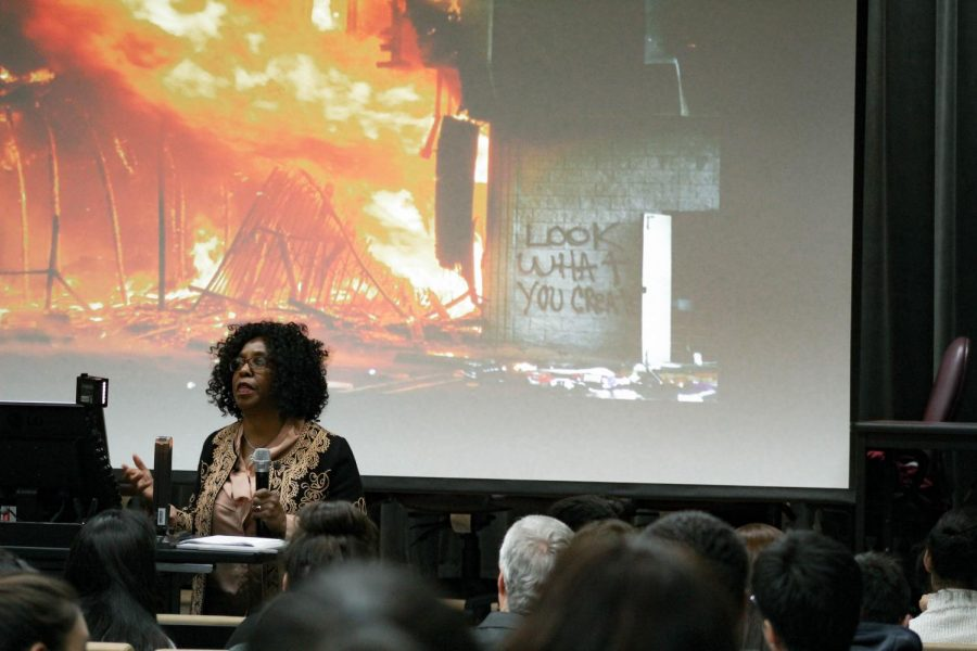 Harlins presents photos of the L.A. Riots.