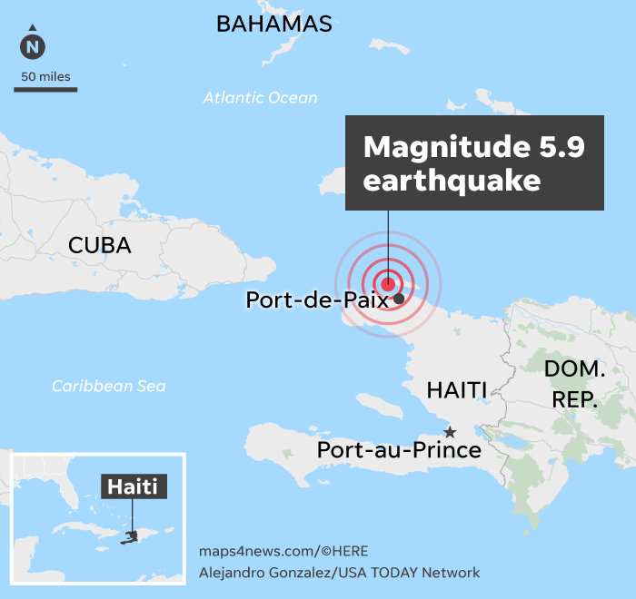 Map shows epicenter of Saturday's 5.9 magnitude quake in Haiti.