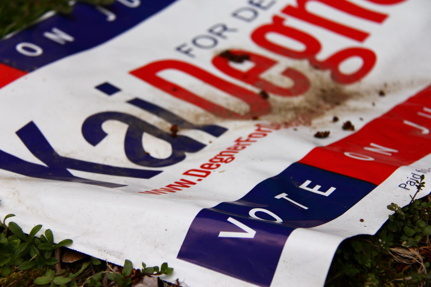 A large promotional banner encourages voters to partake in the elections by voting for their candidate.
