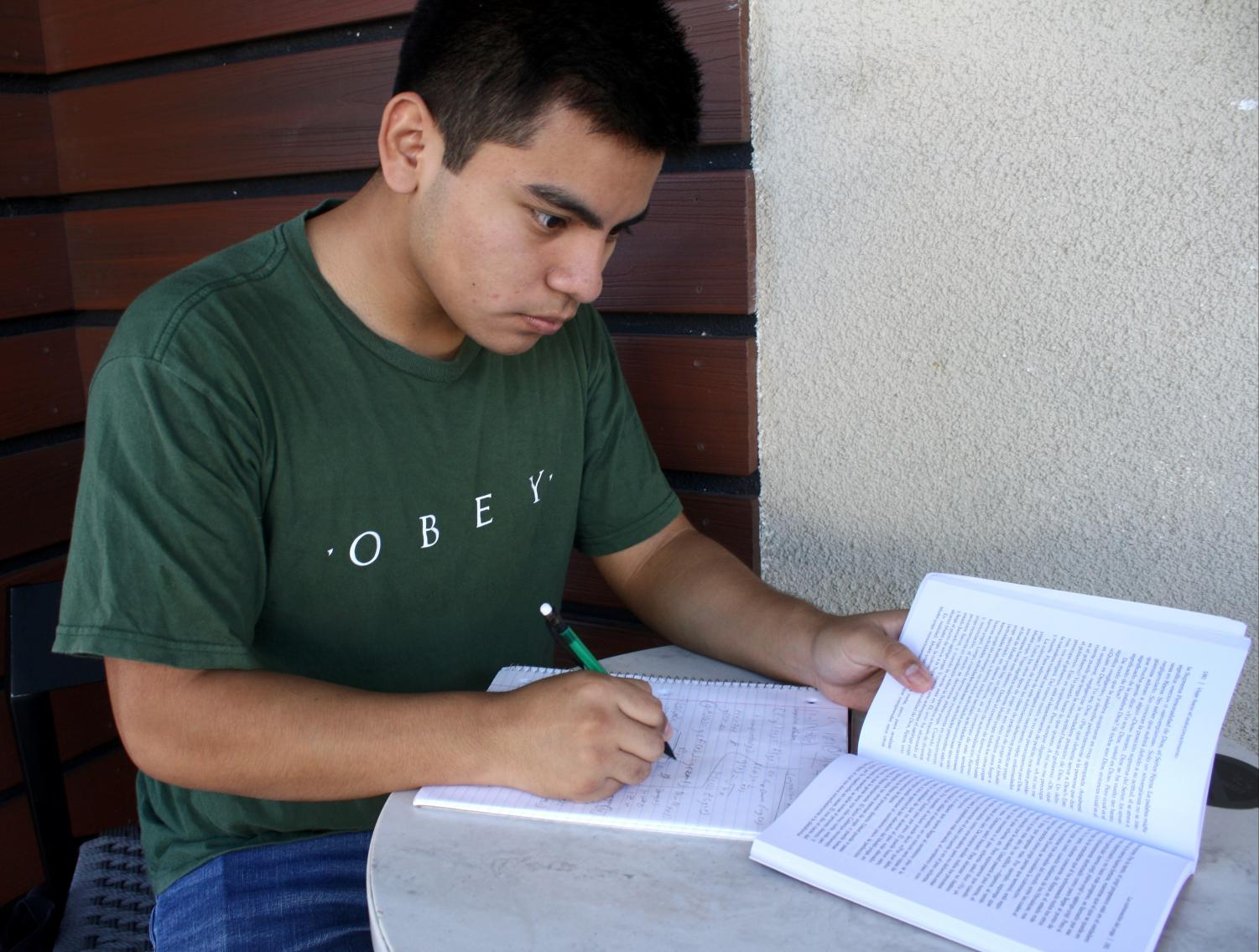 Chris Lopez, A Glendale Community College freshmen is studying for his English exam coming up Thursday at Starbucks in Montrose, Calif. On Sunday Sept. 23rd, 2018.