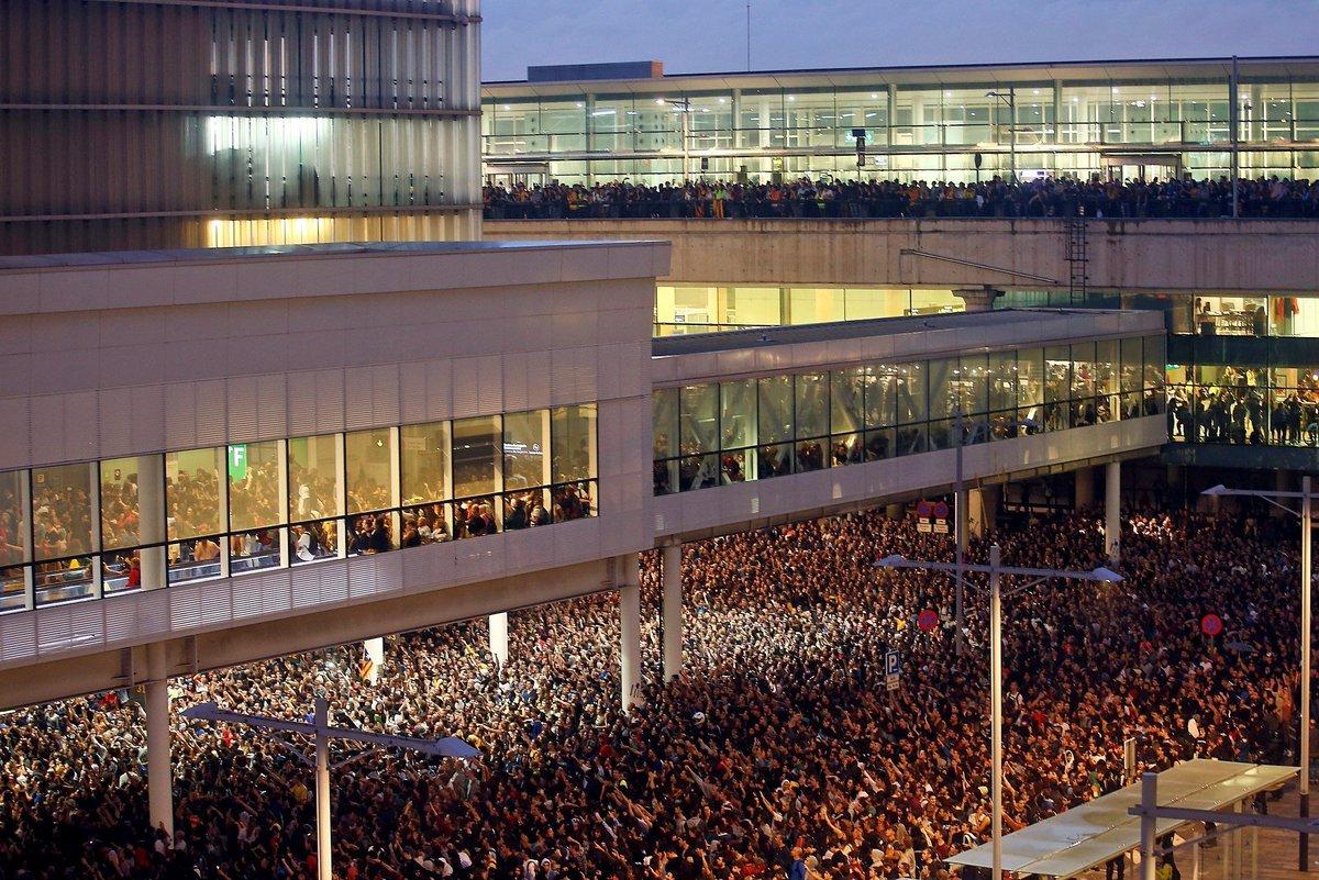 SHUT DOWN: A massive protest shut down Barcelona's El Prat Airport on Tuesday, Oct. 14.
