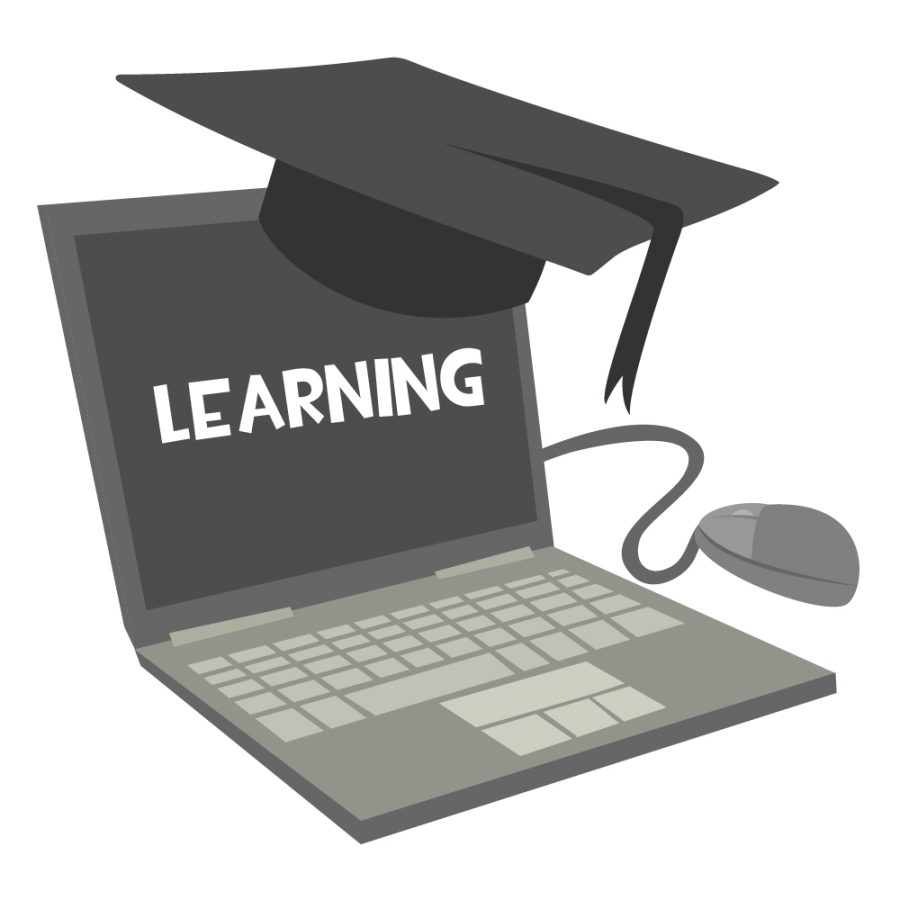 """Laptop with a graduation cap perched on it that displays the word """"learning"""" on the screen."""